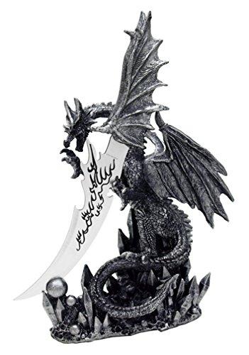 "13"" Obsidian Blade Dragon Athame Dagger Knife"