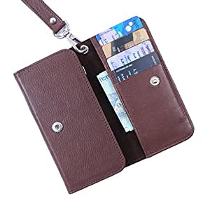 Dooda Genuine Leather Wallet Pouch Case For Maxx AX505 - DUO (BROWN)