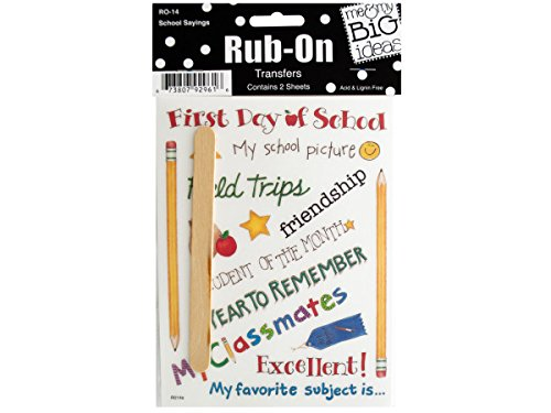 Me & My Big Ideas Rub On Transfers 2 Sheets/Package, School Sayings