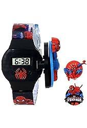 Licensed Marvel Spiderman® Kids Digital Display Quartz Blue Watch