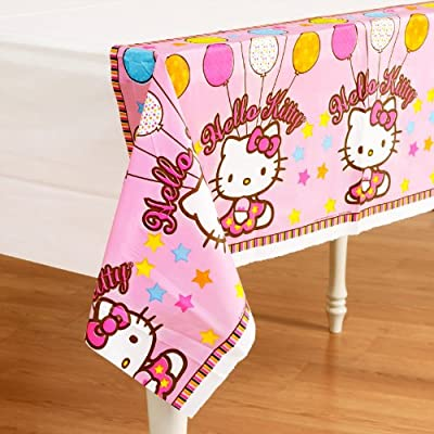 """Amscan Hello Kitty Plastic Table CoverHello Kitty sure knows how to make birthdays special with cute-as-can-be favors and birthday supplies in party-purrrfect pink!Dimensions: 54"""" x 102"""""""