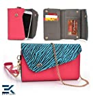 HOT PINK & SKY BLUE ZEBRA | Universal Women's EPI Leather Wallet Phone Bag with Wrist Strap Shoulder Purse fits Nokia Asha 201 Case. Bonus Ekatomi Screen Cleaner