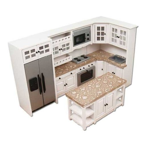 Dollhouse Miniature Modern White and Stainless Kitchen Set (Doll House Kitchen Appliances compare prices)