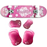 RazorX Sweet Pea Skateboard (31-Inch) and Razor Sweet Pea Youth Multi-Sport Elbow and Knee Pad Set Bundle