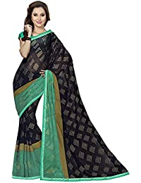 Ishin Georgette Black & Green Printed Fancy Saree