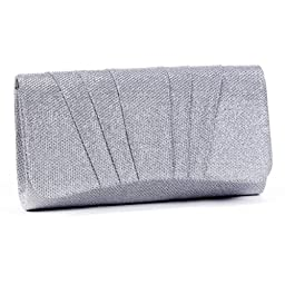 Damara Womens Perfectly Pleated Clutch Party bags,silver