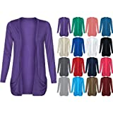 Fashion Wardrobe Womens Long Sleeves Drop Pocket Boyfriend Cardigan Open Casual