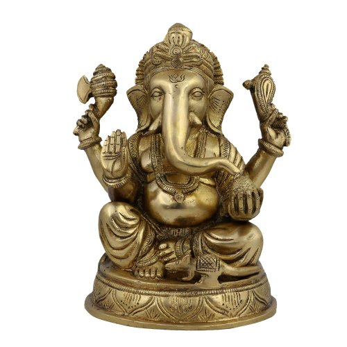 Statua religiosa e Figurine Ganesha Idol Decor indù, Ottone, 12,7 x 19,05 x 11,43 centimetri