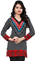 Womens India Tunic Top Kurti Printed Blouse Indian Clothing