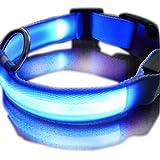 Zehui New Blue Nylon LED Dog Night Safety Collar Flashing Light up W/circular Pendant Collar - Medium