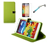 Boriyuan Free Screen Protector + Screen Touch Stylus + Samsung Galaxy Note 3 Ultra Slim / Portable Wallet Cover Leather Case - N9000 GT-N9002 N9005 16GB 32GB Color Green