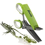 Bevalig Herb Scissors-Snip, Chop & Cut Herbs-5 Blades Stainless Steel Multipurpose Kitchen Shear with Cover & Cleaning Comb-Plus Bonus Recipe eBook, Premium Cooking Gadget for a Healthy Meal