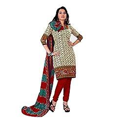 Paras Women's Unstitched Salwar Suit (Cream_Free Size)