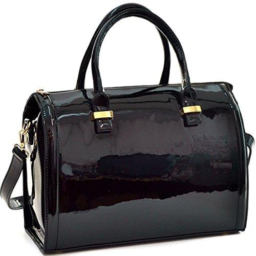 dasein-shiny-patent-faux-leather-barrel-body-satchel-handbag-shoulder-bag-black