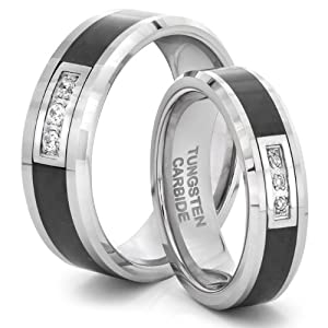 Click to buy His & Her's Tungsten Carbide Triple Diamond CZ Wedding Band Ring Set w/ Black Carbon Fiber Inlay  from Amazon!