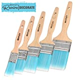Charles Bentley Revive Pack of 5 Paint Brushes DIY Home Decorating Wooden Handles