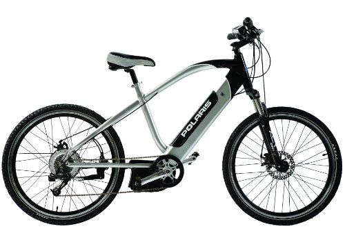 Polaris Electric Bikes Vector Electric 8-Speed Road Bicycle, Silver/Black, 17.5-Inch