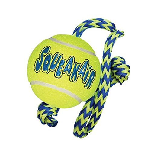 air-kong-squeakair-tennis-ball-on-rope-med-interactive-dog-toy