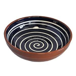 Ceramic Spiral Design Salad Fruit Bowl 29cm Blue