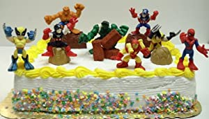 Super Hero Cake Topper Set Featuring Hulk, Captain America, Wolverine, Iron Man, Spiderman, Fantastic Four Thing and Decorative Cake Accessories