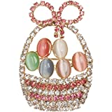 Heirloom Finds Pastel Crystal Easter Eggs In A Basket Opalescent Brooch Pin thumbnail