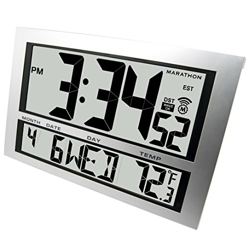 marathon cl030025 commercial grade jumbo atomic wall clock with 6 time zones in
