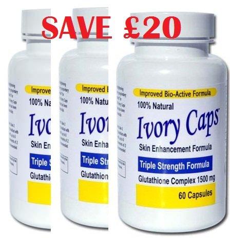 Ivory Caps Skin Lightening Whitening Pill Ivorycaps Glutathione Pills 1500MG Thistle (Pack of 3), 30Day Money Back Gaurantee