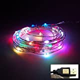 waves USB LED ワイヤーライト イルミネーション ライトアップ 内照灯 電飾衣装 クリスマス 七夕 5色レインボー 5M