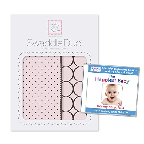 SwaddleDesigns SwaddleDuo 2pack Plus The Happiest Baby White Noise CD Bundle, Modern Duo, Pastel Pink