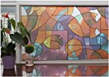 Hogar Adhesive Cling Decorative Privacy Frosted Fish Glass Window Film Multi-Color 3 FT x 7 FT