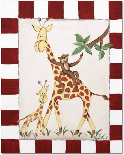 "Doodlefish Gallery-Wrapped 16""x20"" Wall Art, Giraffes and Monkey - 1"