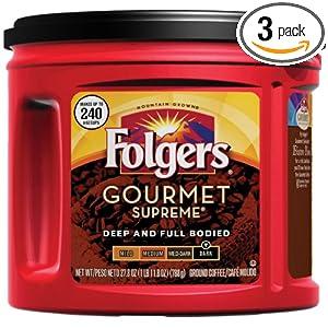 Amazon - 3 Packs of Folgers Gourmet Supreme Ground Coffee - $17.20