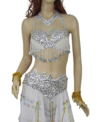 AveryDance Egypt Belly Dance Gorgeous Coins Bra and Hip Scarf Costume Set