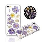 (フライ・デート)Flydate リアル花ケース、押し花ケース、ハードカバー、白デイジーとパープルラークスパー iPhone5S用手作りケース(パープル)