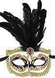 Deluxe-Disfraz de máscara de Mardi Gras Masquerade Máscara con Plumas negro