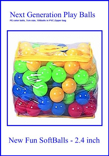 "100 Next Generation Soft Balls - Phthalate Free Pit Balls Packed In Zipper Tote Bags For Easy Storage. Each Ball Measures 2.4"", A Great Size For All Ages. Great Ball Pit Balls, Smaller And Softer Than The Commercial Grade - Will Not Crush For Normal Use -"