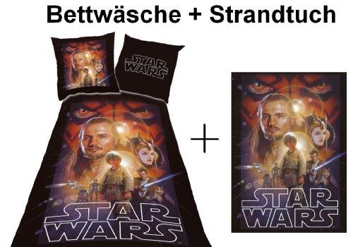 Star Wars Wende Bettwäsche 135x200 cm + Strandtuch Star Wars Sparset 513