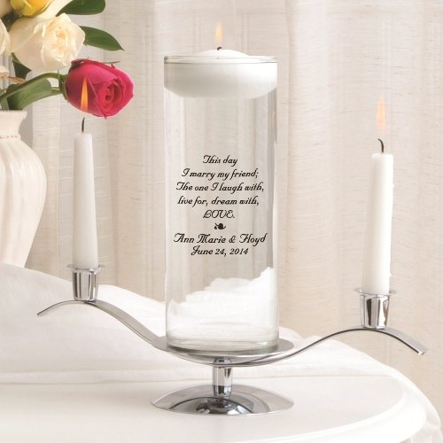 Personalized Floating Wedding Unity Candle w/Stand- This Day
