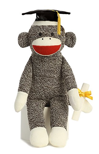 "1 X Graduation Sock Monkey 12"" by Aurora"