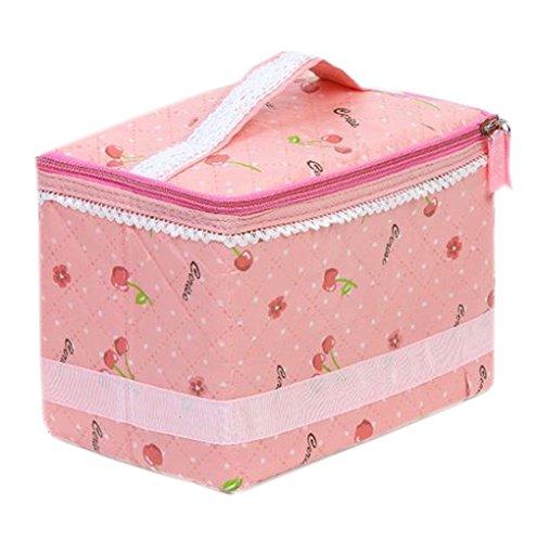 EOZY- Cosmetico Borsa Cosmetic Case Rosa Ciliegia Pizzo Contenitore a mano