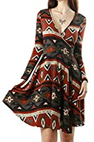 Womens Navajo Aztec Pattern Design Maxi Wrap Dress