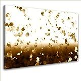 LanaKK – Blütenblätter Braun – edel Leinwand Bild Kunstdruck auf Keilrahmen, fertig gerahmt in 100×70 cm