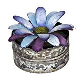 "BALI MANTRA PURPLE GERBERA LID NATURAL SOY WAX CANDLE WITH DISTRESSED TIN (PURPLE + WHITE 3.75"" W X 2.5 H"") SCENT..."