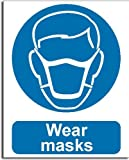 Wear Masks Sign - Semi Rigid Plastic - 200x250mm(MA-045-RE)