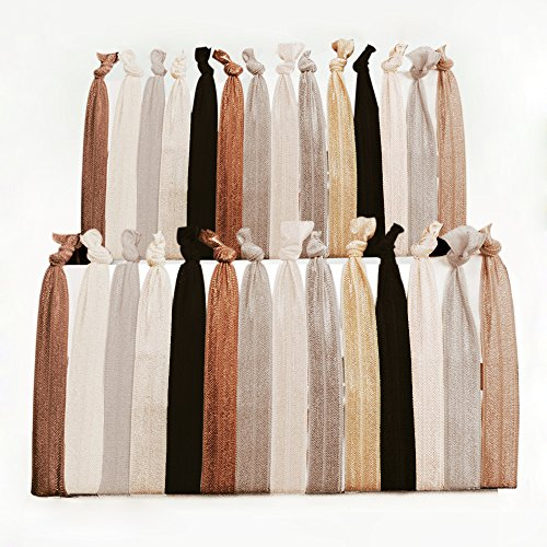 Hanmei No Crease Ribbon Elastics Hair Ties, Ouchless Ponytail Holders Hand Knotted Friendship Bracelet(100 Ties) (Neutral Tones) (Hair Ties Telephone compare prices)