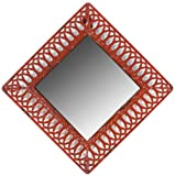 Faux Distressed Metal Red Square Mirror 8 3/4Dx
