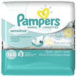 Pampers Sensitive Wipes 3 Travel Pack 56 Wipes Each (168 Count)