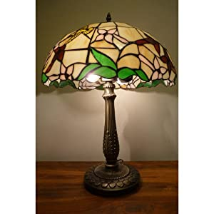 Lampe tiffany en verre veritable pied laiton finition for Lampe pied en verre