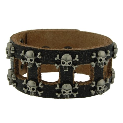 Genuine Leather Skull & Bones Black Vintage Biker Bracelet