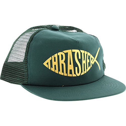 Thrasher Magazine Fish Green / Gold Mesh Trucker Hat - Adjustable (Thrasher Magazine Cap compare prices)